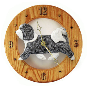 Havanese Dog Light Oak Hand Crafted Wall Clock Grey and White