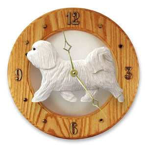 Havanese Dog Light Oak Hand Crafted Wall Clock White