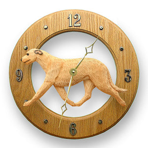 Irish wolfhound Dog Light Oak Hand Crafted Wall Clock Fawn