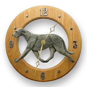 Irish wolfhound Dog Light Oak Hand Crafted Wall Clock Grey