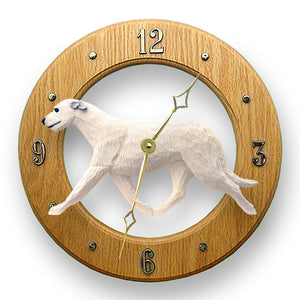 Irish wolfhound Dog Light Oak Hand Crafted Wall Clock White