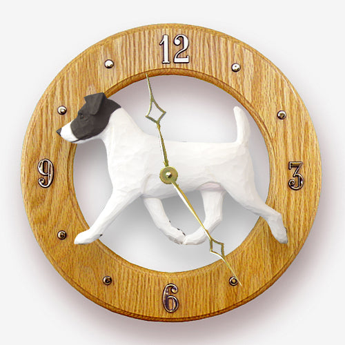 Jack russell terrier Dog Light Oak Hand Crafted Wall Clock Black and White