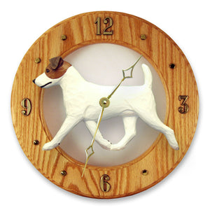 Jack russell terrier Dog Light Oak Hand Crafted Wall Clock Brown and White