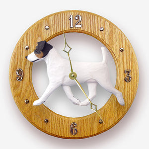 Jack russell terrier Dog Light Oak Hand Crafted Wall Clock Tri Color