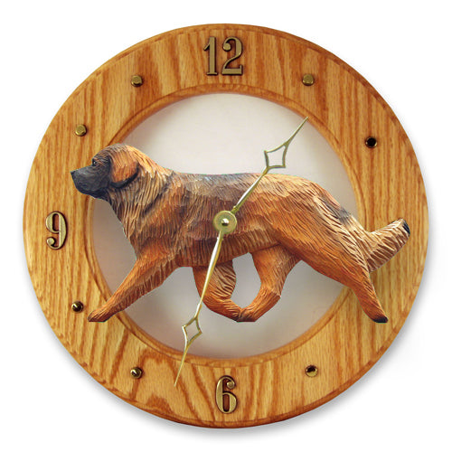 Leonberger Dog Light Oak Hand Crafted Wall Clock