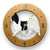 Papillon Dog Light Oak Hand Crafted Wall Clock Black and White