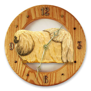 Pekingese Dog Light Oak Hand Crafted Wall Clock Fawn