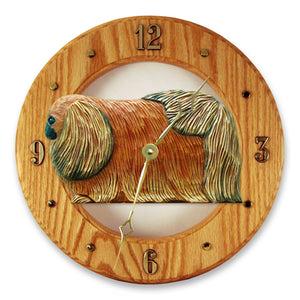 Pekingese Dog Light Oak Hand Crafted Wall Clock Red