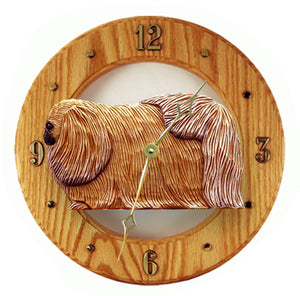 Pekingese Dog Light Oak Hand Crafted Wall Clock Sable