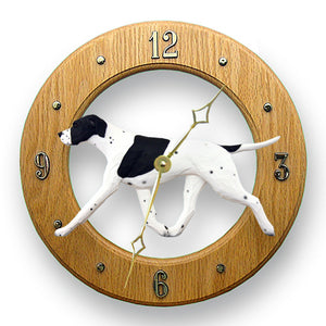 English pointer Dog Light Oak Hand Crafted Wall Clock Black and White