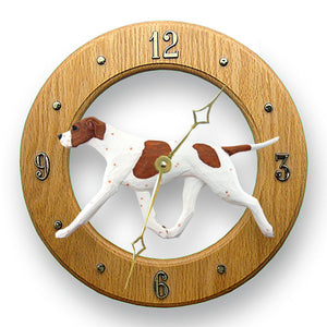English pointer Dog Light Oak Hand Crafted Wall Clock Orange and White