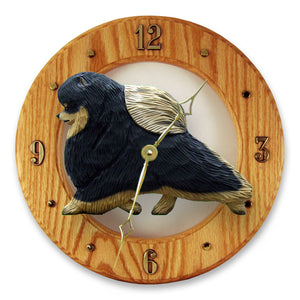 Pomeranian Dog Light Oak Hand Crafted Wall Clock Black and Tan