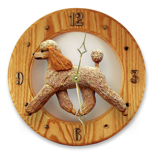 Poodle Dog Light Oak Hand Crafted Wall Clock Apricot