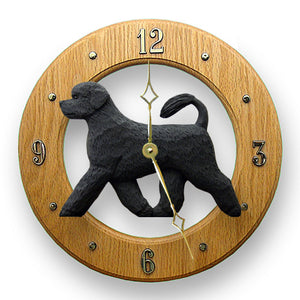 Portuguese water Dog Light Oak Hand Crafted Wall Clock Black