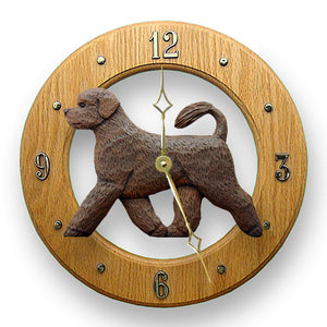 Portuguese water Dog Light Oak Hand Crafted Wall Clock Brown