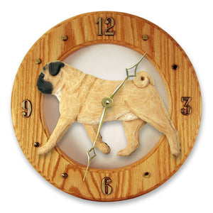 Pug Dog Light Oak Hand Crafted Wall Clock Fawn