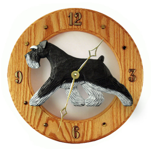 Schnauzer Natural Dog Light Oak Hand Crafted Wall Clock Black