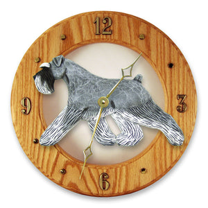 Schnauzer Natural Dog Light Oak Hand Crafted Wall Clock Salt and Pepper
