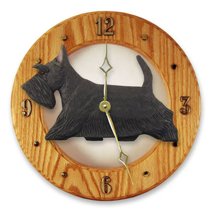 Scottish terrier Dog Light Oak Hand Crafted Wall Clock Black