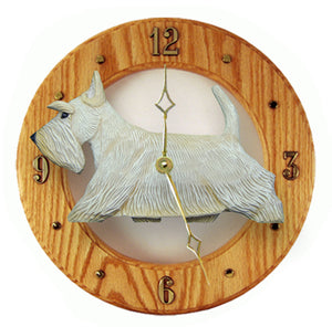 Scottish terrier Dog Light Oak Hand Crafted Wall Clock Wheaten