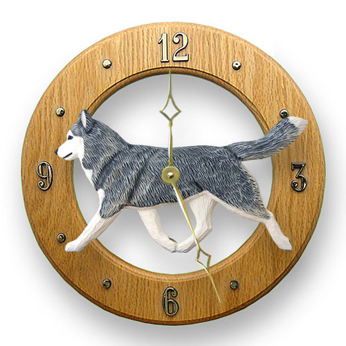 Siberian husky Dog Light Oak Hand Crafted Wall Clock Black and White
