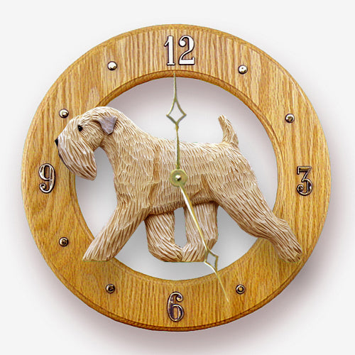 Soft coated wheaten terrier Dog Light Oak Hand Crafted Wall Clock