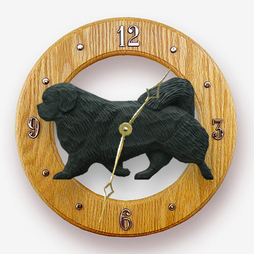 Tibetan spaniel Dog Light Oak Hand Crafted Wall Clock Black