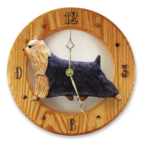Yorkshire terrier Dog Light Oak Hand Crafted Wall Clock