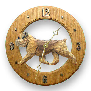 Brussels griffon Natural Dog Light Oak Hand Crafted Wall Clock Beige
