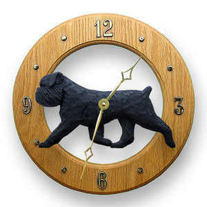 Brussels griffon Natural Dog Light Oak Hand Crafted Wall Clock Black