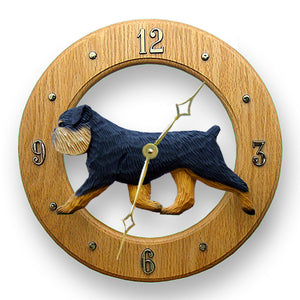 Brussels griffon Natural Dog Light Oak Hand Crafted Wall Clock Black and Tan