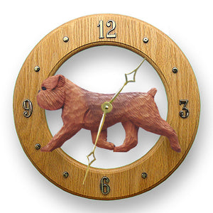 Brussels griffon Natural Dog Light Oak Hand Crafted Wall Clock Red
