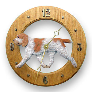 Spinone italiano Dog Light Oak Hand Crafted Wall Clock Orange and White