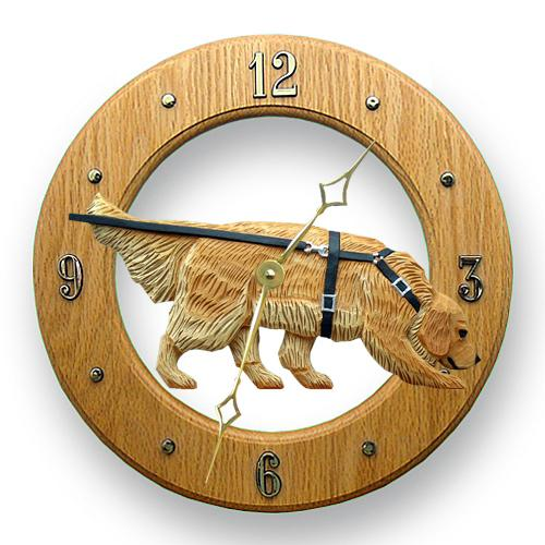 Golden Retriever Tracking Dog Light Oak Hand Crafted Wall Clock Cream
