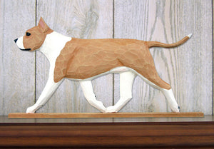 American Staffordshire Terrier Dog in Gait Topper Fawn and White