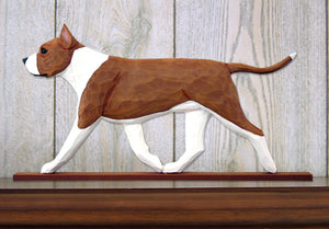 American Staffordshire Terrier Dog in Gait Topper Red and White