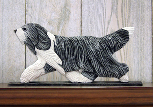 Bearded Collie Dog in Gait Topper Blue and White