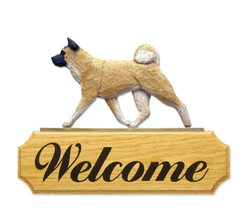 Akita Dog in Gait Yard Welcome Sign Fawn