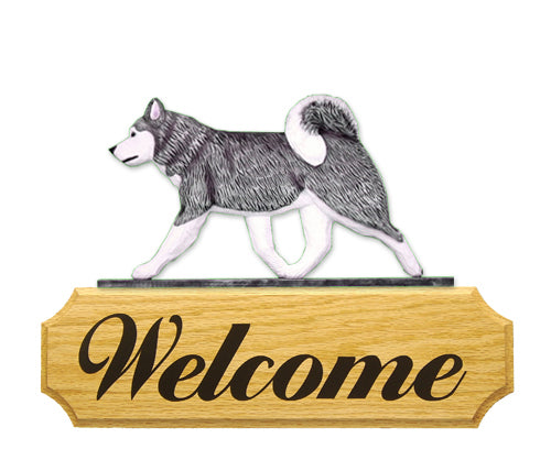 Alaskan Malamute Dog in Gait Yard Welcome Sign Black and White