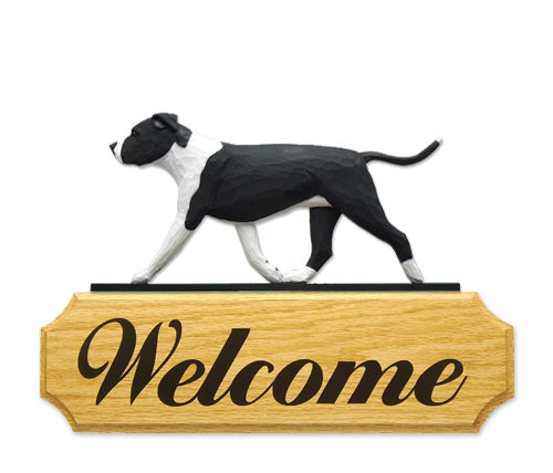 American Staffordshire Terrier Natural Dog in Gait Yard Welcome Sign Black