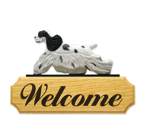 American Cocker Spaniel Dog in Gait Yard Welcome Sign Black Parti
