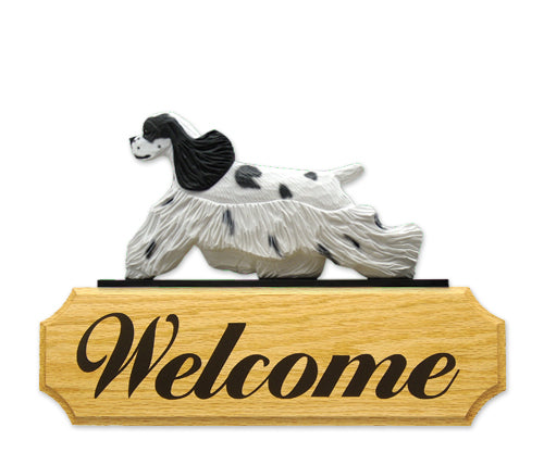 American Cocker Spaniel Dog in Gait Yard Welcome Sign Black