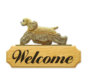 American Cocker Spaniel Dog in Gait Yard Welcome Sign Buff