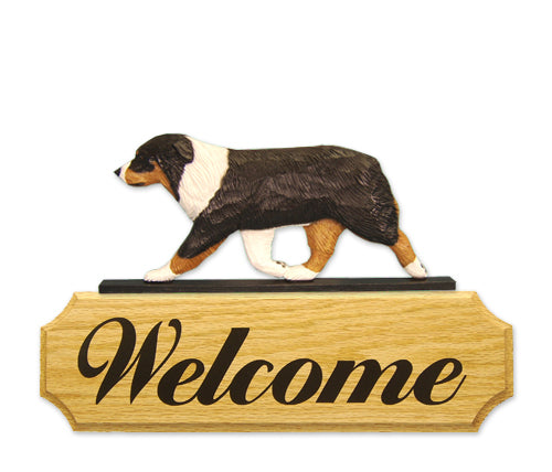 Australian Shepherd Dog in Gait Yard Welcome Sign Black Tri