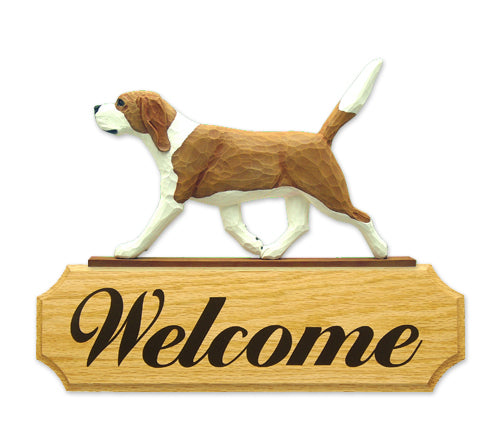 Beagle Dog in Gait Yard Welcome Sign Red and White