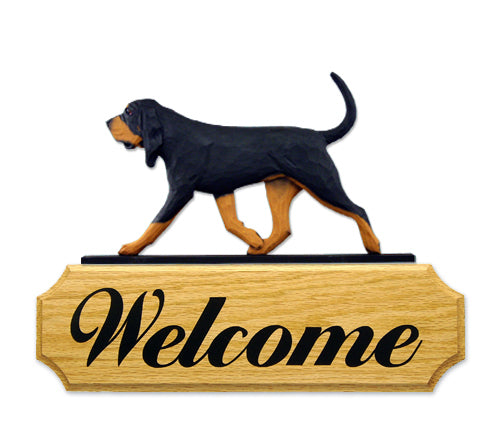 Bloodhound Dog in Gait Yard Welcome Sign Black and Tan