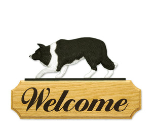 Border Collie Dog in Gait Yard Welcome Sign Black