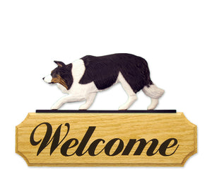 Border Collie Dog in Gait Yard Welcome Sign Black Tri