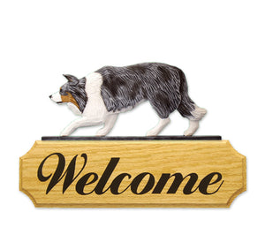 Border Collie Dog in Gait Yard Welcome Sign Blue Merle