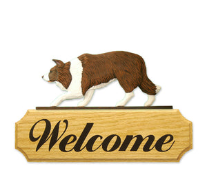 Border Collie Dog in Gait Yard Welcome Sign Red